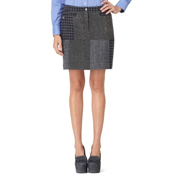 827bc156d5e Brooks Brothers Wool Patchwork Check Skirt